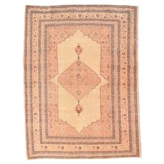 Antique Ivory Tabriz Haji Jalili Persian Area Rug Wool Circa 1890, SIZE: 4'2'' x 7'0''