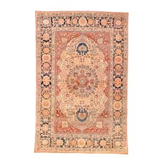 """Extremly Fine Antique Persian Mohtasham Kashan Hand Knotted Circa 1890, Size 4'7"""" x 6'7"""""""