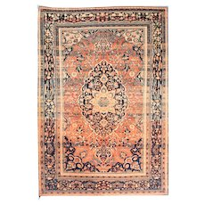 Antique Salmon Mohtasham Kashan Persian Area Rug Silk & Wool Circa 1890, SIZE: 4'5'' x 6'7''
