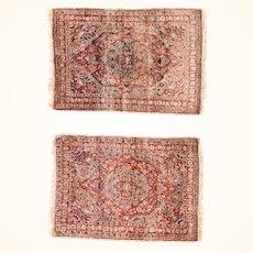 "Fine  & Rare Pair of Antique Persian Tabriz Haji Jalili Hand Knotted , Circa 1890, Size 2'0"" x 3'0"""