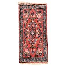 Hand Knotted Persian Sarouk Wool Circa 1930, SIZE: 1'2'' x 2'4''