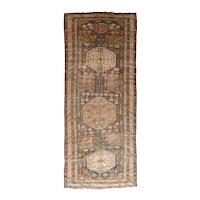 Antique Brown Shirvan Russian Area Rug Wool Circa 1890, SIZE: 4'5'' x 11'4''