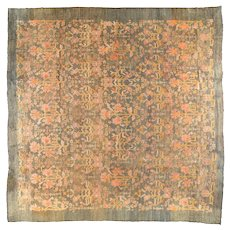 Antique Green Oushak Turkish Area Rug Wool Circa 1890, SIZE: 12'8'' x 13'4''