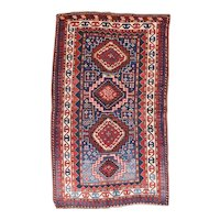Antique Blue Kazak Russian Area Rug Wool Circa 1890, SIZE: 4'0'' x 6'9''
