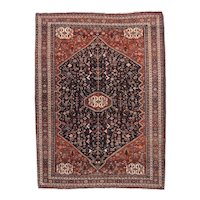 Semi Antique Red Afshar Persian Area Rug Wool Circa 1930 SIZE: 4'0'' x 5'0''
