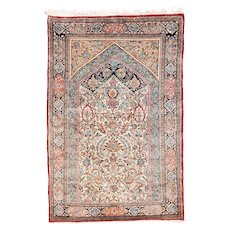"Extremly Fine Persian Qum Rug Silk on Silk Hand Knotted , Size 3'6"" x 5'5"""