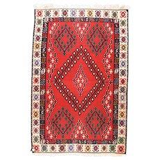 Fine Vintage Turkish Tribal Kilim Wool on Wool Circa 1950, SIZE: 6'6'' x 10'0''