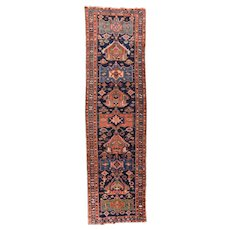 Fine Antique Persian Heriz Runner Wool Circa 1910, SIZE: 3'10'' x 13'6''