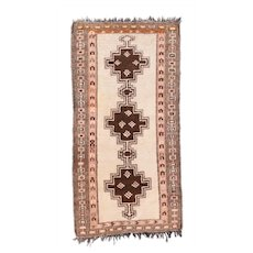 Semi Antique White Fine Persian Tribal Gabbeh Area Rug Wool Circa 1930, SIZE:  3'3'' x 6'3''