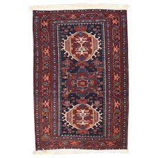 Antique Rust Karajeh Heriz Persian Area Rug Wool Circa 1920, SIZE: 3'0'' x 5'0''