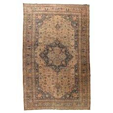 Antique Olive Persian Tabriz Hajijalili Area Rug Wool Circa 1890, SIZE: 9'6'' x 15'0''