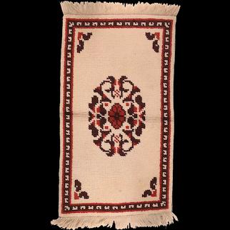 Semi Antique Beige Tribal Turkish Area Rug Circa 1930 SIZE: 2'6'' x 4'6''