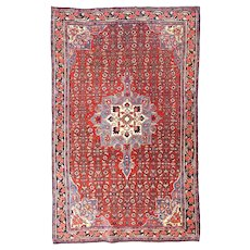 Semi Antique Red Bidjar Persian Area Rug Wool Circa 1930, SIZE: 4'3'' x 6'10''