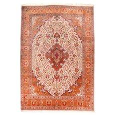 Vintage Rust Persian Tabriz Area Rug Wool Circa 1970, SIZE: 7'2'' x 10'1''