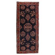 Antique Black Persian Navy Mohajeran Sarouk Area Rug Wool Circa 1910, SIZE: 2'9'' x 6'8''