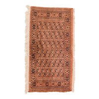 Semi Antique Rust Afghan Area Rug Wool Circa 1930 SIZE: 2'1'' x 4'1''