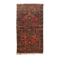 Semi Antique Brown Afghan Silk Area Rug Circa 1950 SIZE: 2'6'' x 4'1''