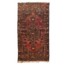 Semi Antique Brown Afghan Silk Area Rug Circa 1950 SIZE: 2'6'' x 4'1''