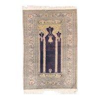 Semi Antique Green Pistachio Turkish Silk Prayer Area Rug Circa 1940, SIZE: 3'0'' x 4'4''