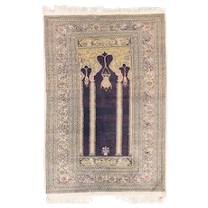 Semi Antique Green Pistachio Turkish Silk Prayer Area Rug Circa 1940, SIZE: 3'0'' x 4'4''