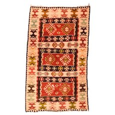 Fine Antique Turkish Kilim Circa 1920, Size:4'0'' x 7'0''