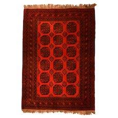 Fine Vintage Afghan Bokara Rug Circa 1970, SIZE: 6'6'' x 9'1''