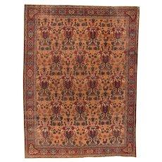 Hand Knotted Persian Kerman Wool Circa 1890, SIZE: 8'10'' x 11'11''
