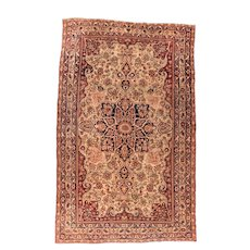 Antique Ivory Lavar Kerman Persian Area Rug Wool Circa 1890, SIZE: 8'0'' x 12'8''