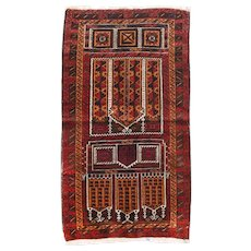 Semi Antique Beige Turkish Tribal Area Rug Wool Circa 1950, SIZE: 3'3'' x 5'0''
