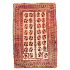 Semi Antique Ivory Persian Balouch Area Rug Circa 1940 SIZE 3'2'' x 4'2''