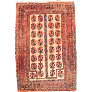 Semi Antique Ivory Persian Balouch Area Rug Circa 1940 SIZE 3'2'' x 4'2''
