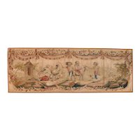 """Extremly Fine Antique Aubusson Pictorial French Tapestry, Hand Knotted, Circa 19th c, Size 1'8"""" x 4'8"""""""