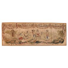 "Extremly Fine Antique Aubusson Pictorial French Tapestry, Hand Knotted, Circa 19th c, Size 1'8"" x 4'8"""