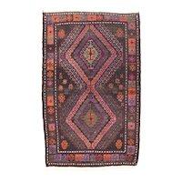 Semi Antique Dark Gray Afghan Balouch Area Rug Wool Circa 1940 Size:3'3'' x 5'3''