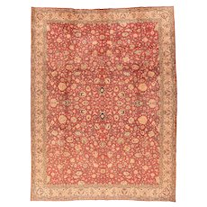 Hand Knotted Persian Tabriz Wool & Silk Circa 1950, SIZE: 8'6'' x 11'0''