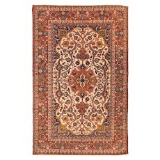 "Extremly Fine Antique Persian Isfahan Rug Hand Knotted Wool & Silk, Circa 1920, Size 4'10"" x 7'2"""