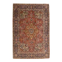 Fine Antique Persian Esfahan Wool on Cotton Circa 1920, SIZE: 4'6'' x 6'7''