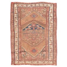 Antique Ivory Persian Malayer Area Rug Wool Circa 1900, SIZE: 3'8'' x 5'6''
