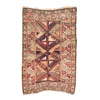 Semi Antique Ivory Caucasian Area Rug Wool Circa 1940, SIZE: 2'10'' x 4'2''