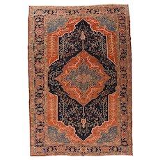 Antique Rust Persian Heriz Area Rug Wool Circa 1900, SIZE: 9'1'' x 13'3''