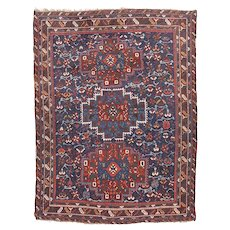 Antique Red Quashkai shiraz Persian Area Rug Wool Circa 1920, SIZE: 5'5'' x 7'1''