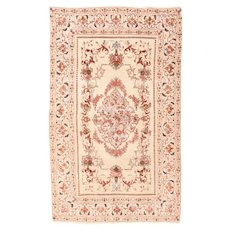 "Extremley Fine Wool on Silk Foundation Persian  Tehran Rug Hand Knotted, Circa 1930's, Size 3'4"" x 5'6"""