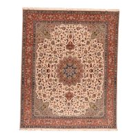 Antique Persian Isfahan Area Rug Silk/Wool Circa 1920, SIZE: 7'4'' x 11'4''