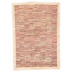 Vintage Red Fine Persian Gabbeh Area Rug Wool Circa 1950, SIZE: 3'4'' x 4'10''