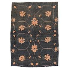 Vintage Dark Green Persian Tribal Gabbeh Area Rug Wool Circa 1970, SIZE: 5'6'' x 7'5''