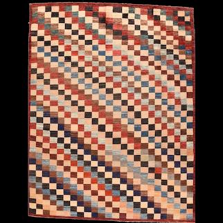 Vintage Brown Persian Tribal Gabbeh Area Rug Circa 1970 SIZE: 7'6'' x 10'0''