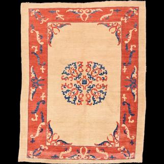 Vintage Beige Persian Tribal Gabbeh Area Rug Circa 1970 SIZE: 5'3'' x 7'6''