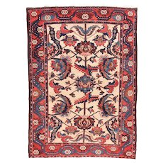 Antique Red Bakhtiari Persian Area Rug Wool Circa 1920, SIZE: 5'2'' x 7'2''