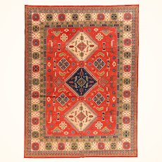 Antique Vintage Kazak Pakestani Rug, Hand Knotted , Size 9' x 12'