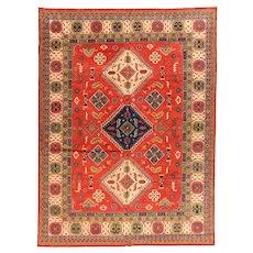 Fine Pak Red Kazak Pakestani Rug, Hand Knotted, Size 9' x 12'